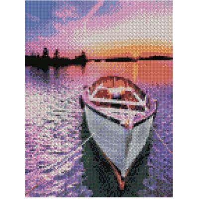 Купить АЛМАЗНАЯ МОЗАИКА «ЛОДКА НА ФОНЕ ЯРКОГО ЗАКАТА СОЛНЦА», 30Х40 СМ, STRATEG (HX405)
