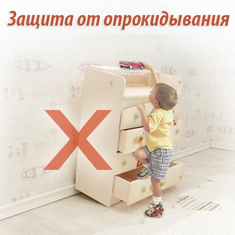 Купить ВЫСОКИЙ КОМОД МИШКА KIDDY, ВАНИЛЬ/ОРЕХ ТЕМНЫЙ, ВАЛЬТЕР (KDV-4.MК.1)_1