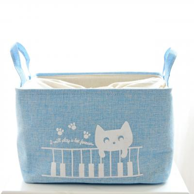 Купить КОРЗИНА ДЛЯ ИГРУШЕК НА ЗАВЯЗКАХ CAT BLUE, 38Х27Х25 СМ, BERNI (43485)