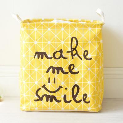 Купить КОРЗИНА ДЛЯ ИГРУШЕК НА ЗАВЯЗКАХ SMILE YELLOW, 36Х26Х40 СМ, BERNI (43460)