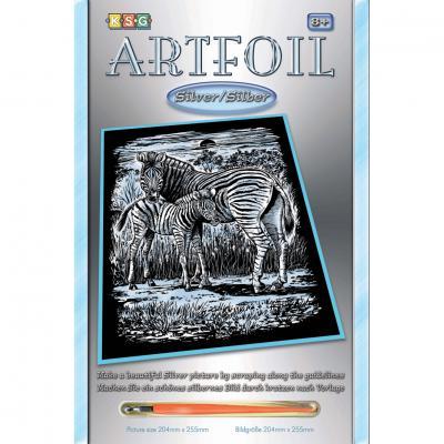 Купить НАБОР ДЛЯ ТВОРЧЕСТВА ARTFOIL SILVER ZEBRA AND FOAL, SEQUIN ART (SA1018)