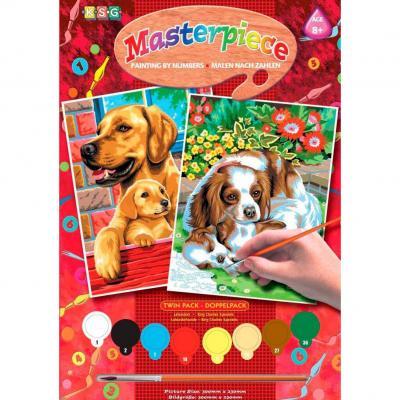 Купить КАРТИНА ПО НОМЕРАМ JUNIOR PAIRS  DOGS, 30Х23 СМ, 2 ШТ., SEQUIN ART (SA0214)