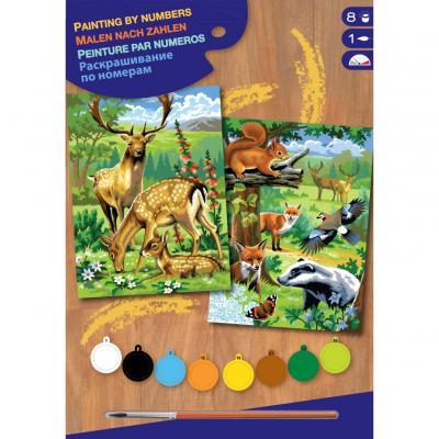 Купить КАРТИНЫ ПО НОМЕРАМ JUNIOR-PAIRS WOODLAND ANIMALS, 30Х23 СМ, 2 ШТ., SEQUIN ART (SA0216)