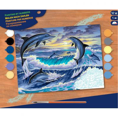 Купить КАРТИНА ПО НОМЕРАМ SENIOR DOLPHIN SUNRISE, 30Х23 СМ, SEQUIN ART (SA0563)