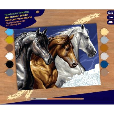 Купить КАРТИНА ПО НОМЕРАМ SENIOR WILD HORSES, 39Х30 СМ, SEQUIN ART (SA1040)