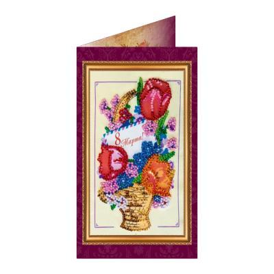 Купить НАБОР-ОТКРЫТКА ДЛЯ ВЫШИВКИ БИСЕРОМ 8 МАРТА-4, КОРЗИНА С ЦВЕТАМИ, ABRIS ART (AO-046)