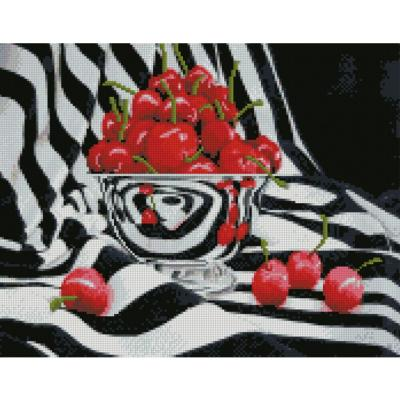 Купить АЛМАЗНАЯ МОЗАИКА «ВИШНЯ НА ЧЕРНО-БЕЛОМ ФОНЕ», 40Х50 СМ, STRATEG (FA40815)