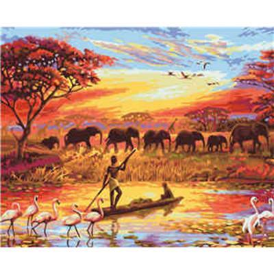 Купить КАРТИНА ПО НОМЕРАМ ЖИЗНЬ АФРИКИ,  40Х50 СМ STRATEG (VA-2281)