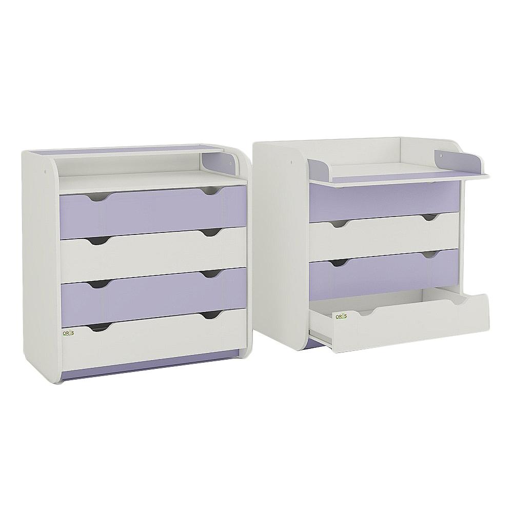 oris Комод с пеленатором Colour, бело-фиолетовый, Oris (ORIS030)