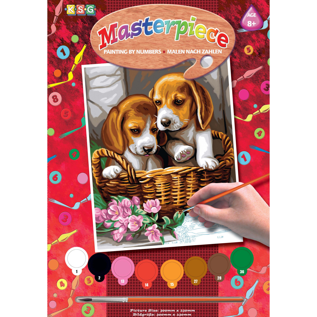 sequin art Картина по номерам JUNIOR Basket of Puppies, 30х23 см, Sequin Art (SA1042)