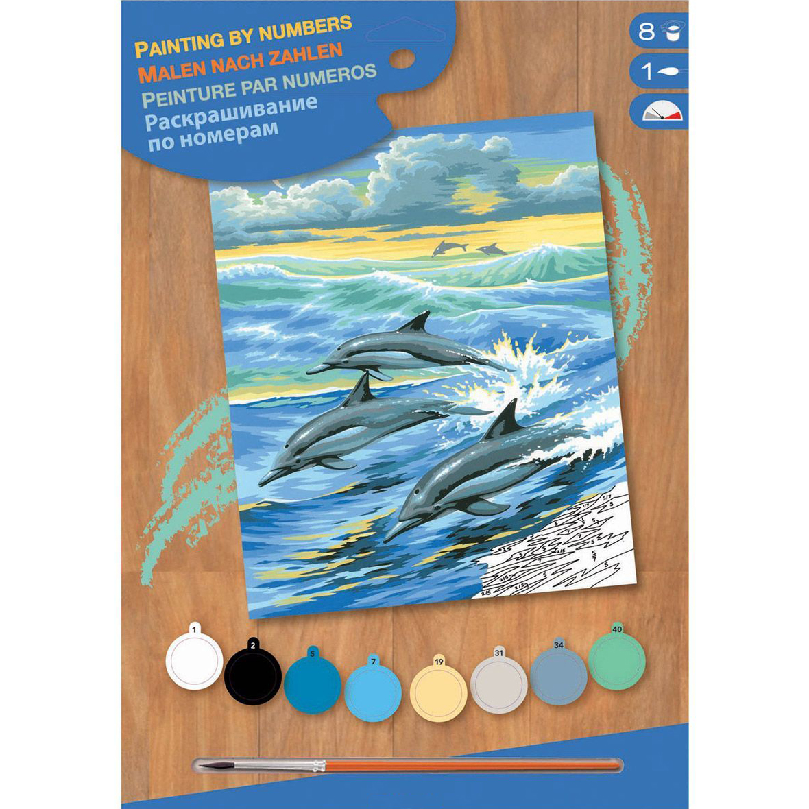 sequin art Картина по номерам JUNIOR Dolphins, 30х23 см, Sequin Art (SA0031)